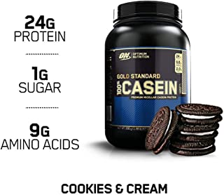 OPTIMUM NUTRITION Gold Standard 100% Micellar Casein Protein Powder, Slow Digesting, Helps Keep You Full, Overnight Muscle Recovery, Cookies and Cream, 2 Pound