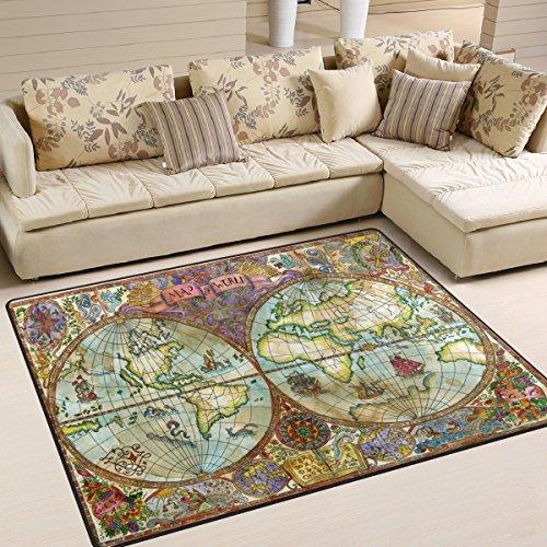 Use7 Tapis vintage Carte du monde pour salon chambre à coucher, Tissu, multicolore, 203cm x 147.3cm(7 x 5 feet)