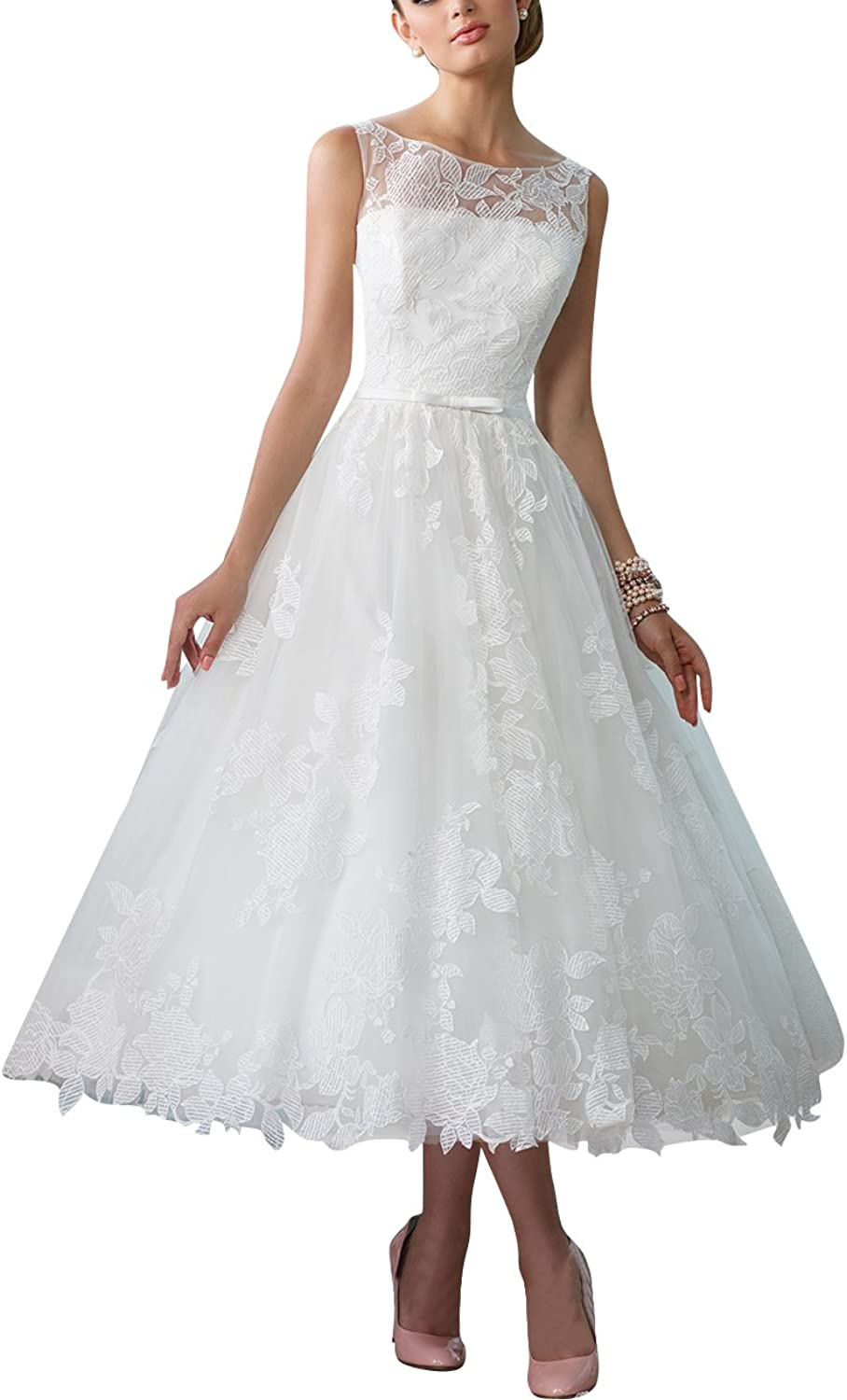 Cdress Flora Lace Short Wedding Dresses Tulle Bridal Gowns Tea Length with Bow Belt