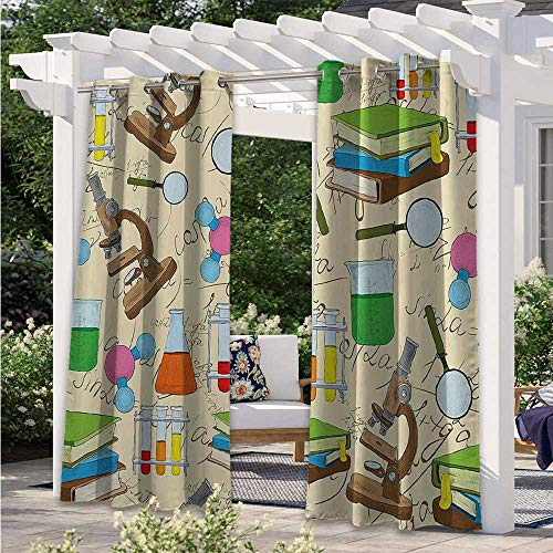 Adorise Outdoor Waterproof Curtain Science Education Lab Sketch Books Equation Loupe Microscope Molecule Flask Pergola Outdoor Drapes Great for Your Outdoor Deck Multicolor W84 x L84 Inch