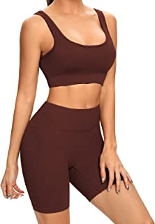 Buscando Yoga Workout Outftis Sets for Women 2-Piece Shorts-Seamless Ribbed High Waist Leggings+Sports Bra Gym Clothes