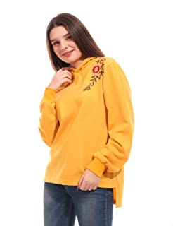 Andora Embroidered Flowers Loose-Fit High-Low Hoodie for Women