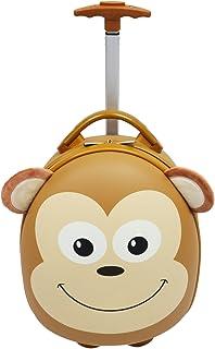 "Emmzoe Kids & Toddler 15"" Carry On Animal Trolley Hardshell Luggage - Lightweight EVA, Dent Proof, Adjustable Handle for A..."