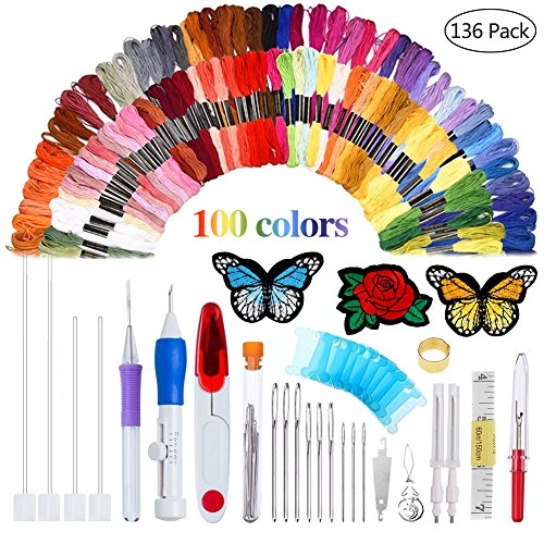 AHOMATE Magic Patterns Punch Needle Kit Craft Tool Embroidery Pen Set, Threads for Sewing Knitting DIY Threaders.
