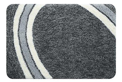 spirella Badematte   kuscheliger Hochflor   Rutschfester Badvorleger   viele Größen   waschbar 40°   70x120 cm   Grau