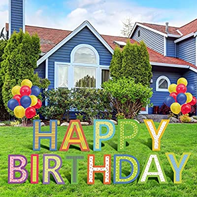 Happy Birthday Yard Signs with Stakes - Letter is 18 Inch Tall Inclue 13 Letters and 30 PCS Balloon Colorful Outdoor Birthday Party Decorations