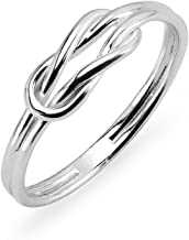 Sterling Silver High Polished Double Band Love Knot Ring Sizes 5 to 10