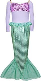 Spring Long Sleeves Mermaid Princess Dress Costume for Little Girls
