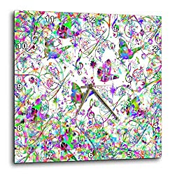 3dRose Lens Art by Florene - Nature - Image of Flock of Prism Color Butterflies and Music Notes - 13x13 Wall Clock (DPP_302019_2)