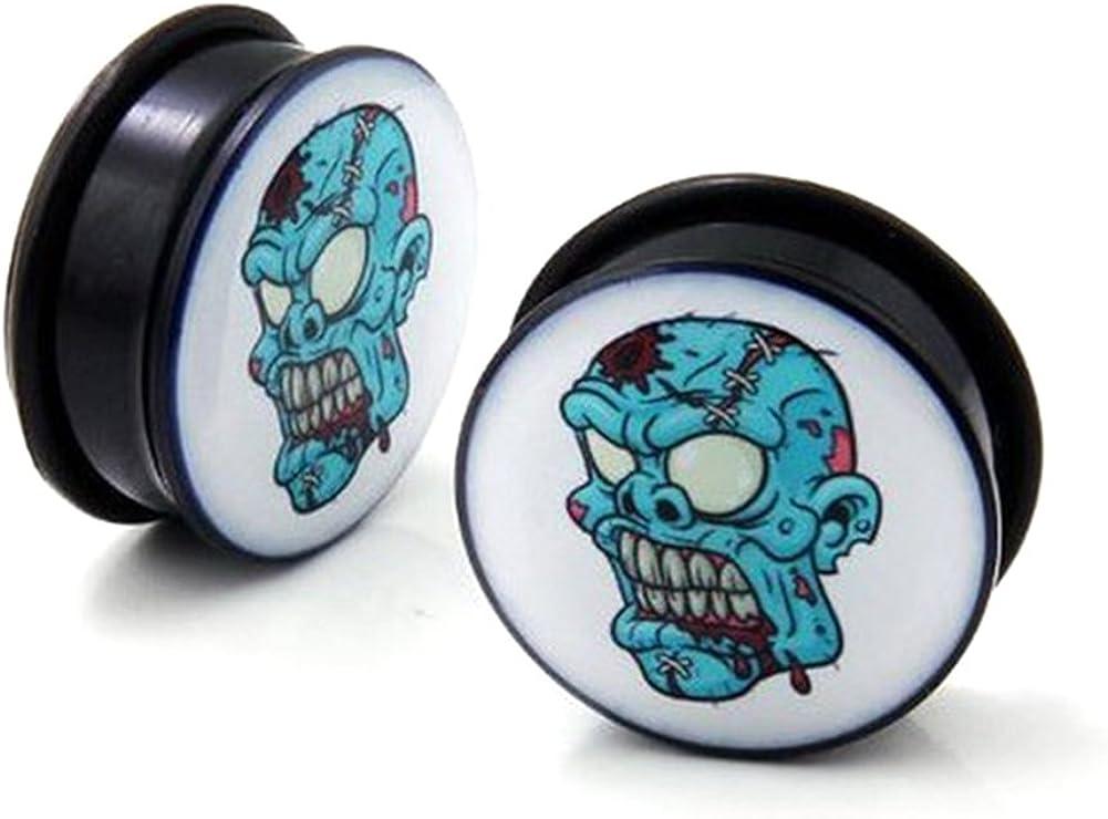 Dead Zombie Acrylic Single Flare O Ring Ear Solid Tunnel Plugs Gauges Body Piercing Jewelry for Ear Lobe