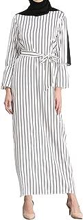 Qianliniuinc Women Trumpet Sleeve Stripe Long Robes-Lady Pencil Skirt Maxi Dress Tunic Middle East Arab Muslim
