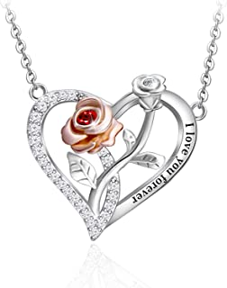 Rose Heart Necklace for Women Girls 925 Sterling Sliver...
