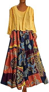 Maxi Dresses for Women,Womens Crew Neck Patchwork Two-Piece Summer Vintage Floral Long Maxi Dress