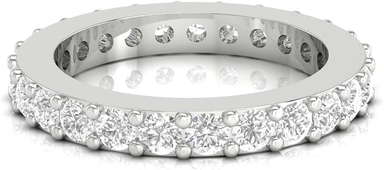 Diamondrensu 1.50 CTW Round Colorless Genuine Moissanite B Cheap mail order sales Full Eternity