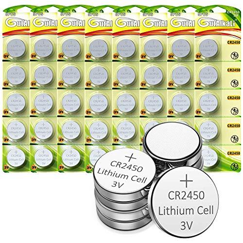 GutAlkaLi CR2450 Lithium-Knopfzellen, 40 Stück 3V Lithium Knopfzelle Elektro CR 2450 Lithium