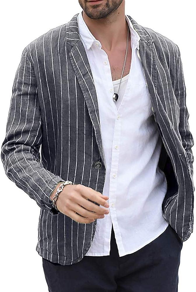 Makkrom Men's Linen Suit Jackets Striped Notch Lapel Lightweight Casual Blazer Sport Coats