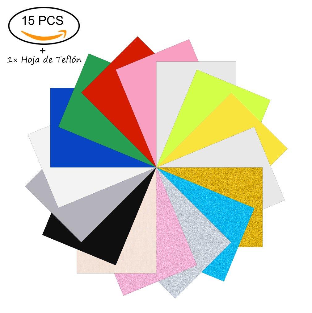 Papel Transfer Papel de Transferencia PU Hojas De Vinilo Textil De Calor Adhesivo Para Prensa Térmica, Cricut, Silhouette, Pazzles Para Hum Camiseta, Taza, Sombrero 15 Colores 12x 10 15 Piezas: Amazon.es:
