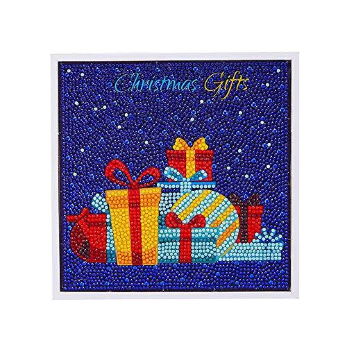 5d Diamant Peinture. Xshuai® Merry Christmas encadrée complète Kits 5d Diamant Peinture Mini Père Noël pour enfant faite à la main Craft DIY Educational Toys pour 6–13 ans, b, canvas size: 20x20cm