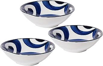 مينورو توكي خزف ناروتو أرابيسك مسطح من النوع 4؟ مجموعة أطباق مسطحة الأبعاد من 3 قطع بأبعاد 14.7 سم × ارتفاع 3.8 سم