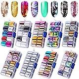 Duufin 90 Colores Foil para Uñas Transfer Pegatinas Uñas Decorativas Transferencia de Uñas para Uñas de Arte