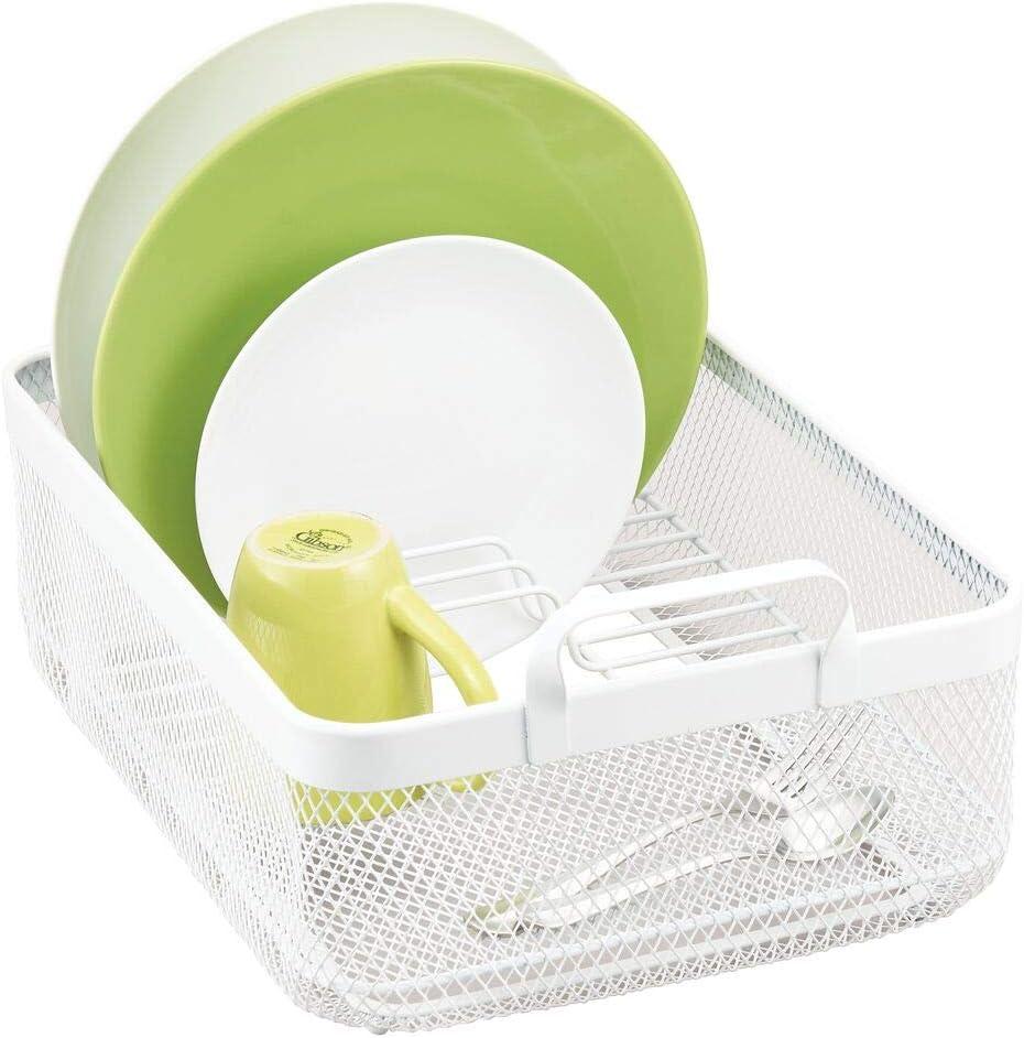 mDesign Modern Kitchen Countertop Sink Drying Denver Mall Rack - Dish Max 40% OFF Drain