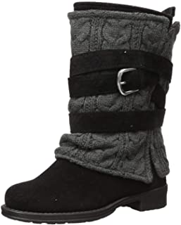 Muk Luks Women's Nikita Boots Mid Calf, Black/Grey, 7 M US