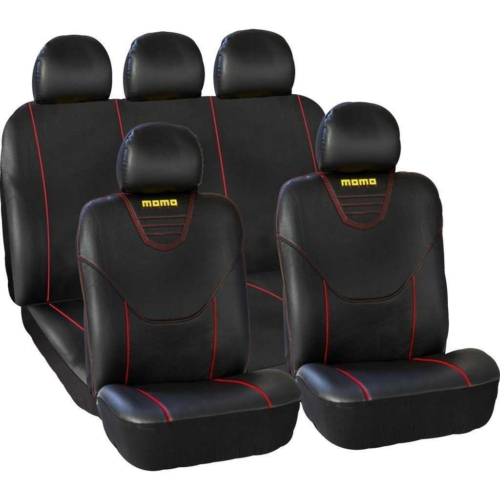 Sparco Complete Set Seat Covers Black//Red Stripes