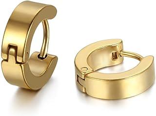 زوج من أقراط هاغي هوب للرجال من المجوهرات من الفولاذ المقاوم للصدأ، متوفر بألوان (مع حقيبة هدايا)