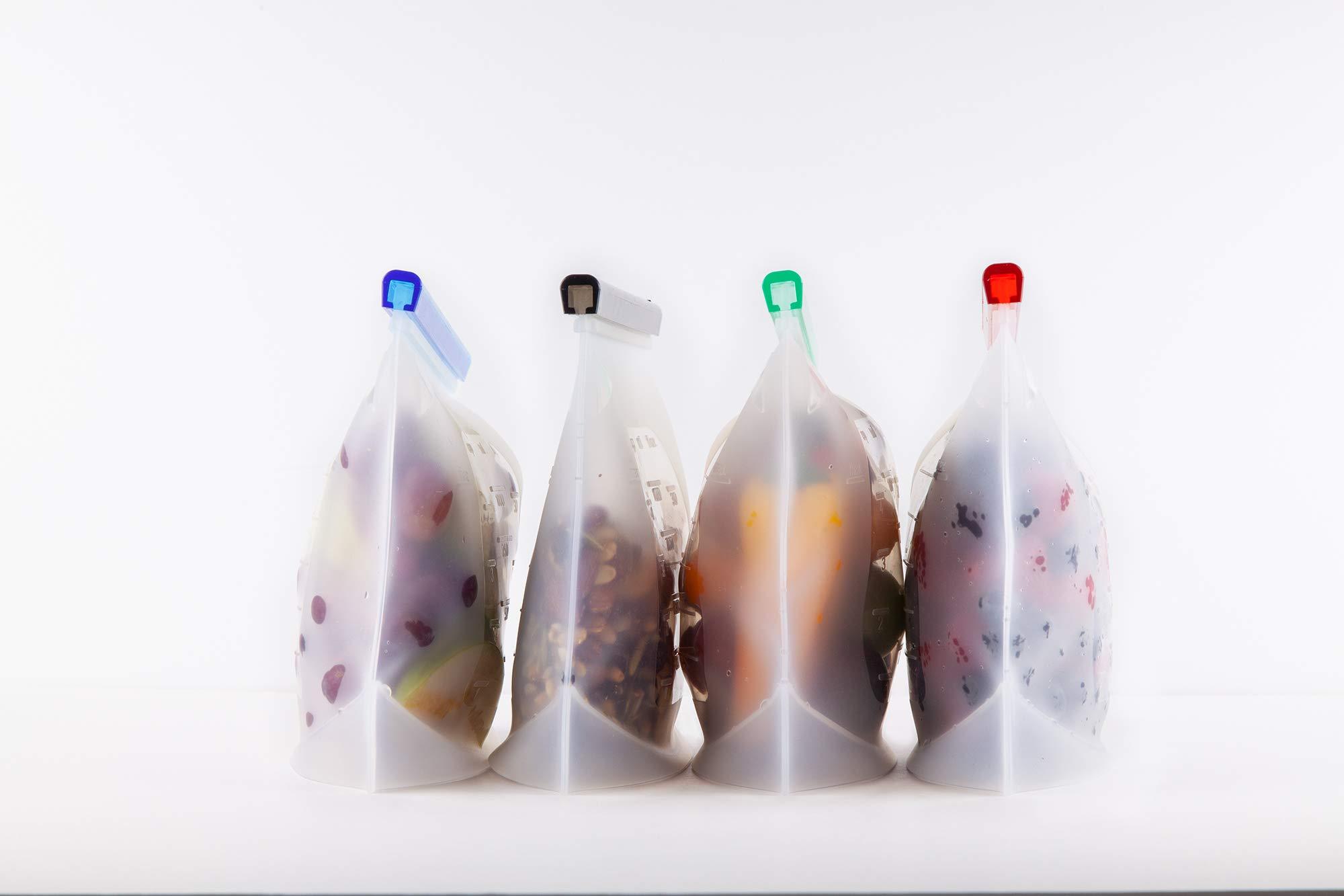 Microondas 4L, 2M Bolsas de Silicona Reutilizables 2L, 4M, 2S Bolsas Reutilizables para Compras Ecol/ógicas SIN BPA   Congelado   Lavables Homeful Gratis   A Prueba de Fugas