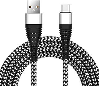 Cable USB C de 6 pies, Cable de Carga de sincronización de Datos Tipo C para Samsung Galaxy S9/S8 Plus, LG V30 V20 G6 G5 y más Dispositivos de Tipo C (Plata)