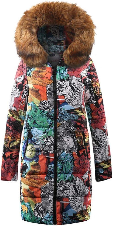 ManxiVoo Womens Winter Long Down Jacket Ladies Printed Parka Hooded Coat Quilted Jacket Outwear