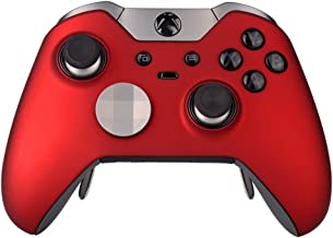 eXtremeRate Replacement Shell Front Faceplate Cover for Xbox One Elite Controller with Thumbstick Accent Rings (Red)