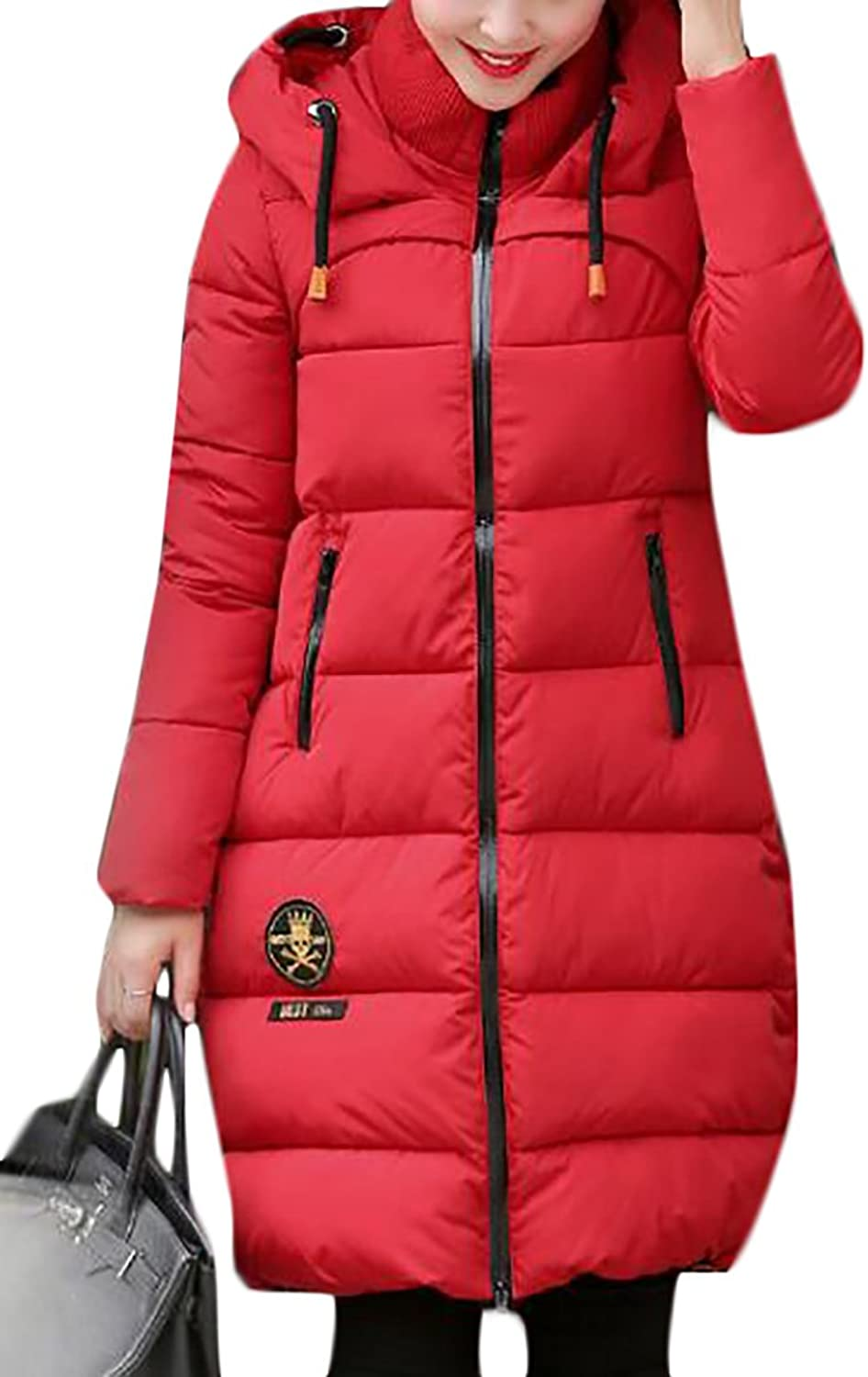 BYWXWomen Winter Quilted Down Coat Short Slim Faux Fur Hooded Puffer Jacket
