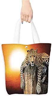 Ecofriendly Shopping Bag Safari Decor Leopard Sitting on Dry Tree at Sunset Danger in the Air Big Cat with Spotted Form Image Orange Brown (W15.75 x L17.71 Inch)