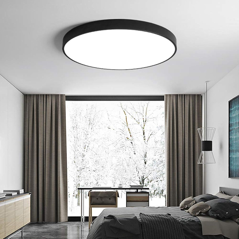 Acryl Alloy Round 5cm Super Thin LED Deckenleuchte 23 30 40 50  60cm LED Deckenleuchte für Schlafzimmer im Foyer, Schwarz,Durchmesser 40cm, Warmwei