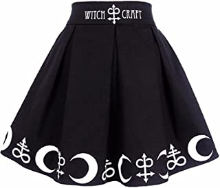 Ezcosplay Women Gothic Witchcraft Moon Magic Spell Symbols Pleated Mini Skirt