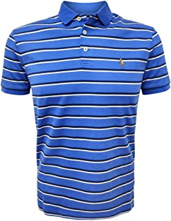 Polo Ralph Lauren Mens Custom Slim Fit Mesh Striped Polo Shirt (X-Large, Blue-White/Signature Pony)