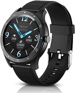 BYTTRON Reloj Inteligente, Rastreador de Ejercicios con Pantalla táctil HD Redondo de Seguimiento del Ritmo cardíaco, Arterial Sleep Monitor Fitness Watch, Podómetro Tracker SMS Smart Watch Hombres