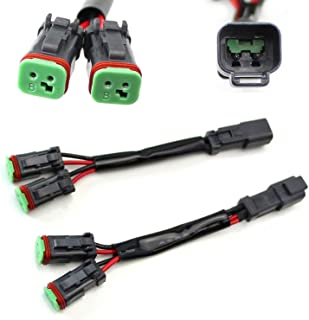 iJDMTOY (2) Y-Shape Dual Outputs Deutsch DT DTP Adapters Connectors Splitters, Good For Dual LED Pod Lights, LED Light Bar, LED Work Lamps, Fog Lights, etc