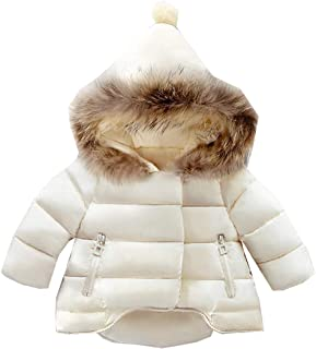 LANBAOSI Baby Girls Cute Fur Hoodie Puffer Down Jacket Warm Snow Coat Outerwear