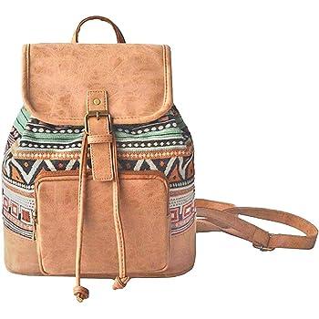 Amoyie Klassische Rucksackhandtaschen Klein Leder Und Baumwolle Freizeitrucksack Madchen Damen Taschen Rucksacke Fur Schule Einkaufen Reise Arbeit Amazon De Koffer Rucksacke Taschen