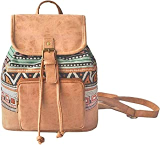 Amoyie Klassische Rucksackhandtaschen Klein, Leder und Baumwolle Freizeitrucksack, Mädchen Damen Taschen Rucksäcke für Sch...