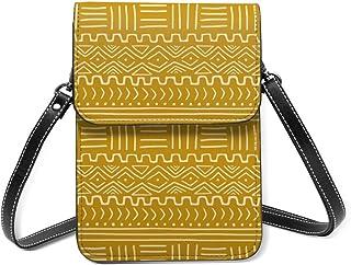 Ninjz8 Mud Cloth On Senf Crossbody Handytasche Tasche Leder Handtasche Kartenfächer Brieftasche Handyfach Baggap Clutch