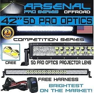#1 LED Light Bar 5D 42 inch Pro Optics 240W 5D=400W 40,000LM CREE LED Light Bar by Arsenal Offroad TM 5D Spot Flood combo beam for Xtreme Offroad JEEP Trucks UTV SUV 4x4 Polaris Razor 1000 Raptor