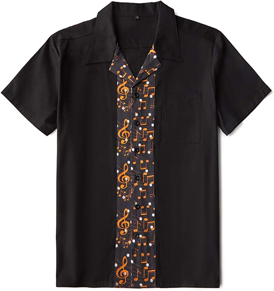 Mens Shirts Design Music Note Rock N Roll Casual Rockabilly Shirt Party Clothes