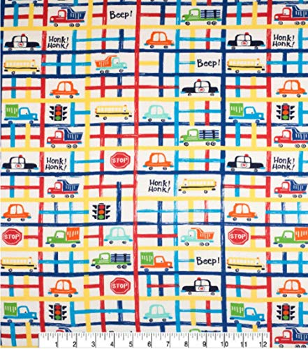 100% Cotton Flannel Fabric Sold by The Yard 1 Yard = 36 in. Length (Bright City Streets)