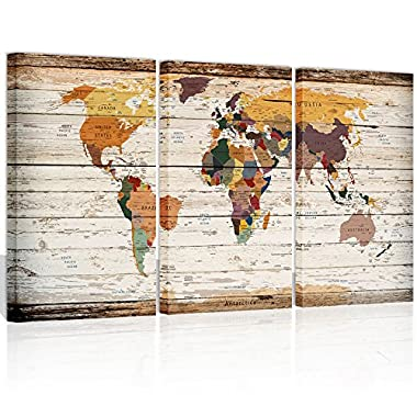 Xlarge Vintage World Map Canvas Prints Atlas Framed Map Wall Art Decor for Travel Pin Marks Large Map Wall Decor (1)