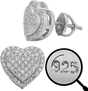 """Real Solid 925 Sterling Silver - Heart Earrings - Iced CZ 1/2"""" Heart Shaped Earrings Screw Backs - Big Hip Hop Flooded Out..."""