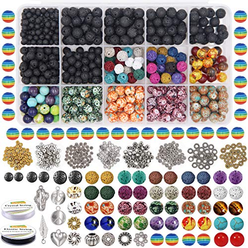 EuTengHao 702Pcs Lava Beads Stone Rock Beads Rainbow Striped Beads Kit with Chakra Beads Cloisonne Beads Spacer Beads Bracelet String Cord for Diffuser Essential Oils Adult Jewelry Making Supplies
