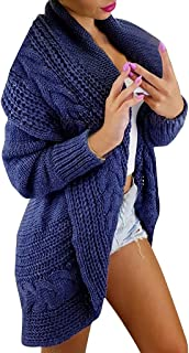 🌻Womens Casual Open Front Long Sleeve Chunky Knit Cardigan Sweater Loose Outwear Coat